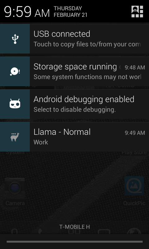 Android storage warning